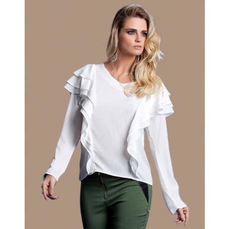 Blusa Branca Manga Longa Detalhe com Babado