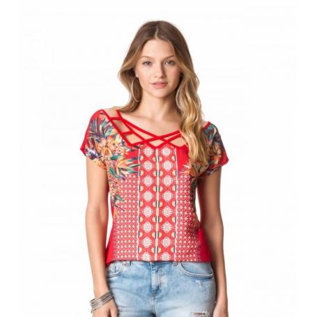 Blusa Vermelha Gola com Tiras Estampa Cetim