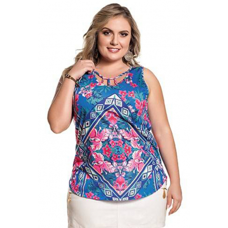 Blusa Plus Size Azul Estampada