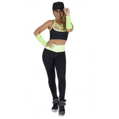 Conjunto Fitness Top Legging Supplex Cós Alto Strappy Preto