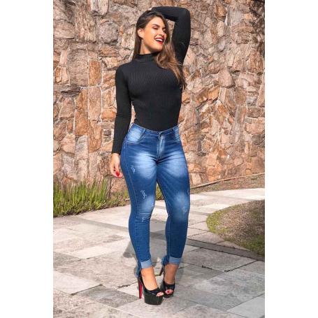 Calça Jeans Skinny Barra Assimétrica