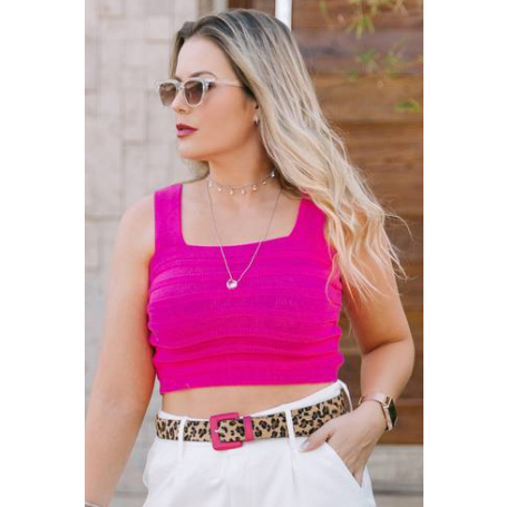 Cropped Tricot Liso Listras Relevo