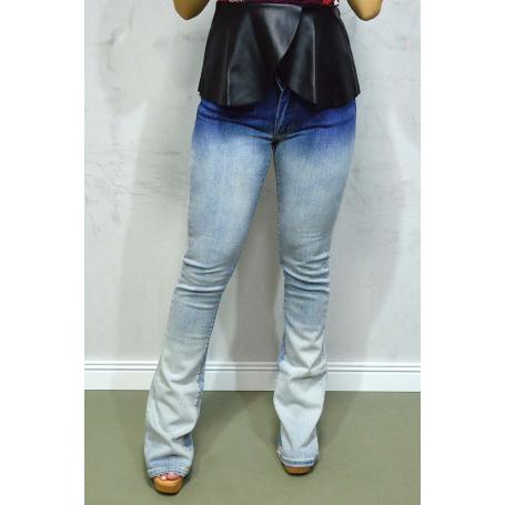 Calça Jeans Flare Degradê Azul