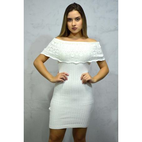 Vestido Curto Tricot Charme Off White