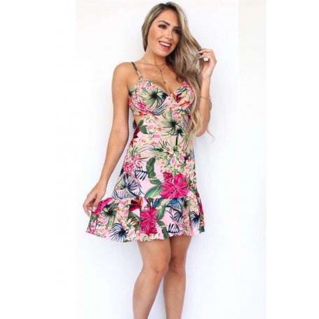 Vestido Curto Viscose Amarração Vazado Floral Rosê