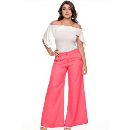 Calça Pantalona Rosa Zíper Frontal