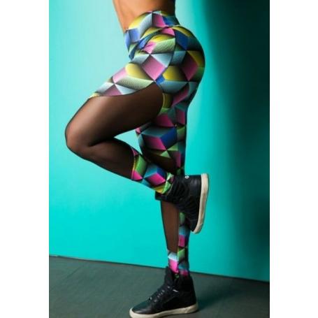 Legging Fitness Supplex Cós Alto Tule Cubos 3D Multicolor