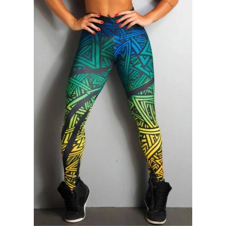 Legging Fitness Supplex Cós Alto Geométrica Multicor