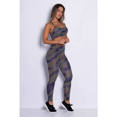 Conjunto Fitness Top Legging Supplex Serpent Multicolor
