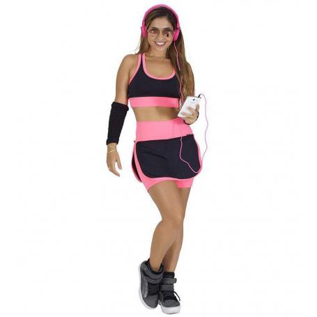 Conjunto Fitness Supplex Cós Alto Short-saia Top Fluorescente Rosa