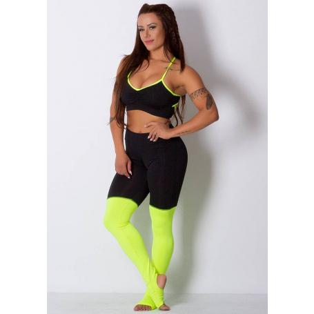 Legging Fitness Supplex Cós Alto Com Meia Neon Verde