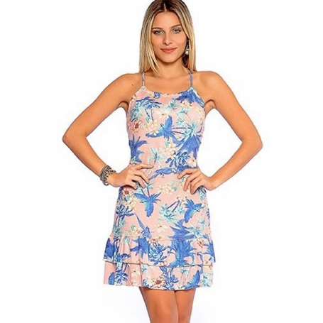 Vestido Curto Viscolycra Frente Única Tropical Rosa
