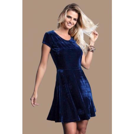 Vestido Curto Veludo Godê Azul