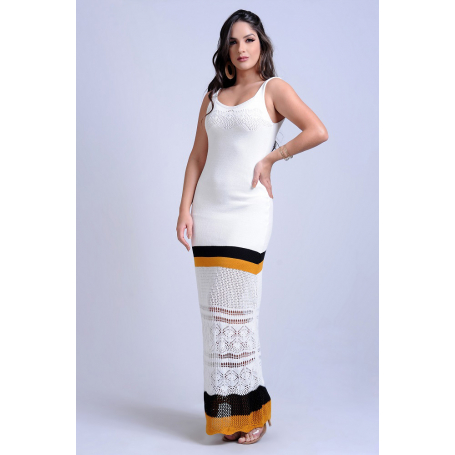 Vestido Longo Tricot Branco Detalhe Vazado