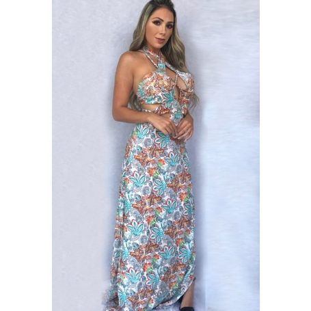 Vestido Longo Viscose Estampado Floral Strappy