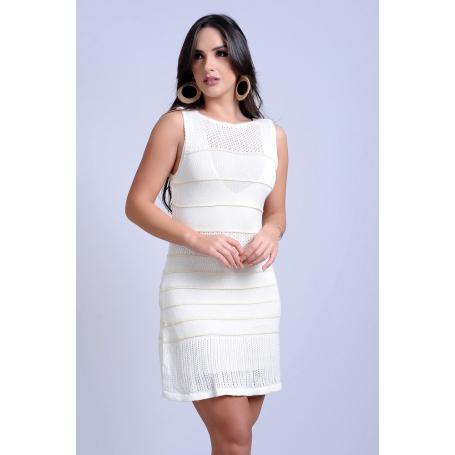 Vestido Curto Tricot Branco Decote Strappy