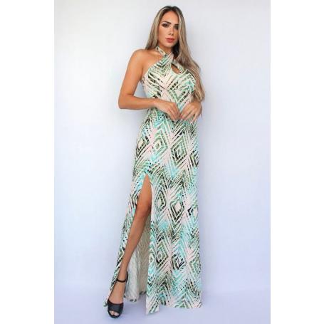 Vestido Longo Viscolycra Fenda Decote Gota Estampado
