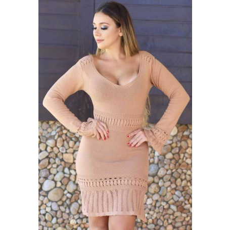 Vestido Curto Tricot Nude Manga Longa Flare