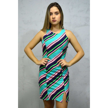 Vestido Curto Crepe Gota Multicolor Fendas