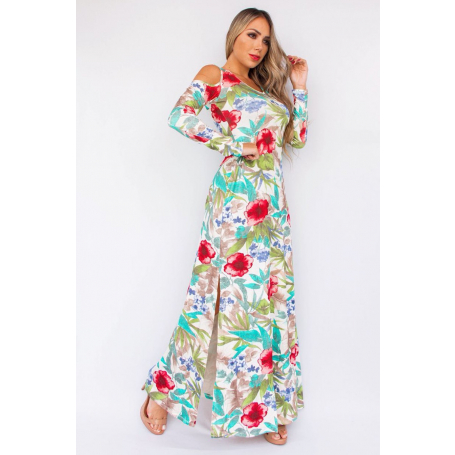 Vestido Longo Floral Ombro Vazado Fenda Lateral