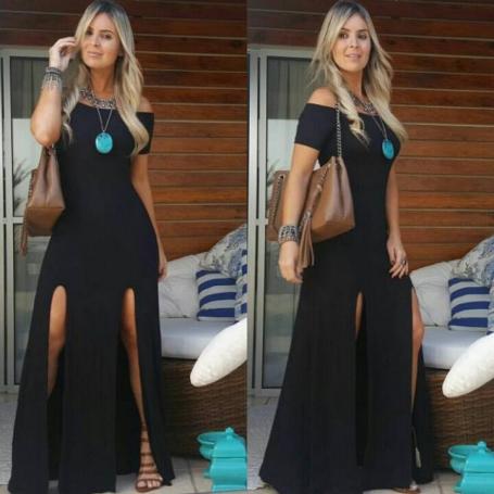 Vestido Longo Viscolycra Black Summer Fendas