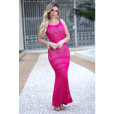 Vestido Longo Tricot Vazado Rosa Alças