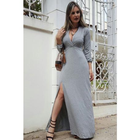 Vestido Longo Viscolycra Cinza Manga Longa Fenda