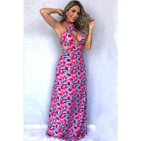 Vestido Longo Viscose Estampado Rosa Strappy