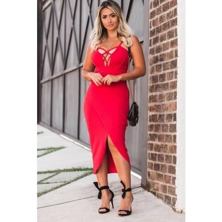 Vestido Midi Vermelho Decote Trançado Fenda Frontal