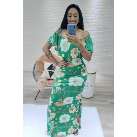 Vestido Longo Viscolycra Ciganinha Floral Verde